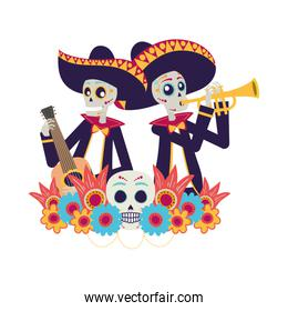 mexican mariachis skulls playing guitar and trumpet
