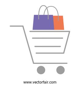 shopping bag paper and cart commercial icons