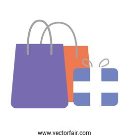 gift box present and shopping bags