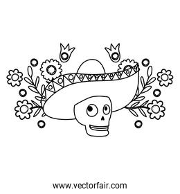 mariachi skull with flowers comic character