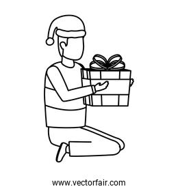 young man with christmas hat and giftbox present