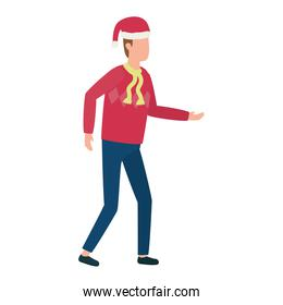 young man with christmas hat character
