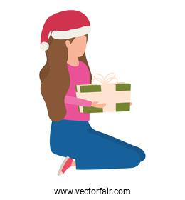young woman with christmas hat and giftbox