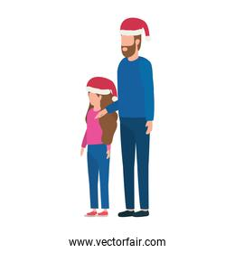 father and daughter with christmas hats characters