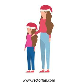 mother and daughter with christmas hats characters