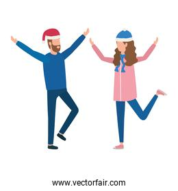 young lovers couple with christmas hat characters