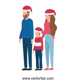 parents couple and son with christmas hats characters