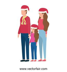 parents couple and daughter with christmas hats characters