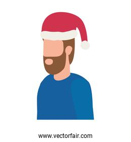 bearded man with christmas hat character