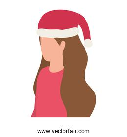 young woman with christmas hat character