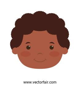 cute little afro boy head comic character
