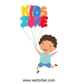 cute little boy with kids zone balloons helium