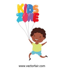 cute little afro boy with kids zone balloons helium