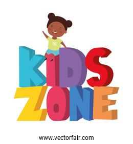 cute little afro girl with kids zone words