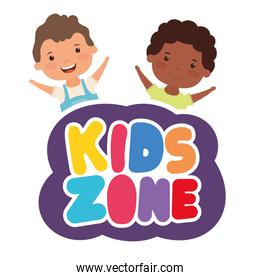 cute little interracial boys with kids zone lettering