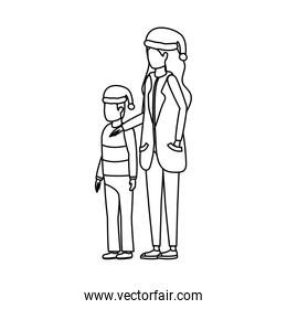 mother and son with christmas hats characters
