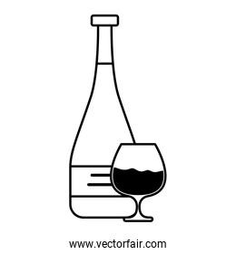 wine bottle and cup drink isolated icon