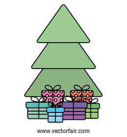 christmas pine tree with gifts presents