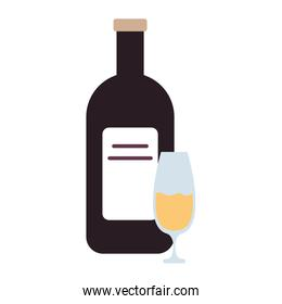 champagne bottle and cup drink isolated icon
