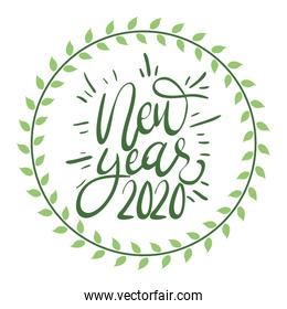 happy new year lettering icon