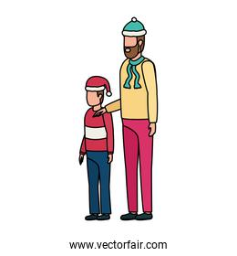father and son with christmas hats characters