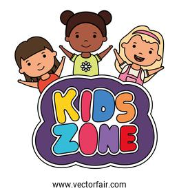 cute little interracial girls with kids zone lettering