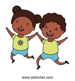afro little kids couple comic characters