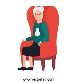cute old woman seated in sofa comic character