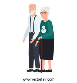 cute old couple comic characters