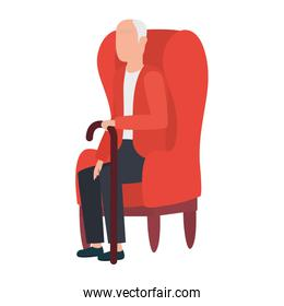 cute old man seated in sofa character