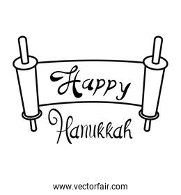 happy hanukkah patchment with lettering