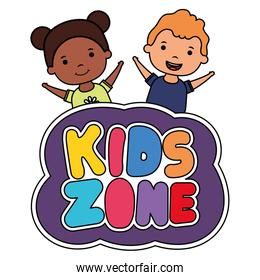cute little interracial children couple with kids zone lettering