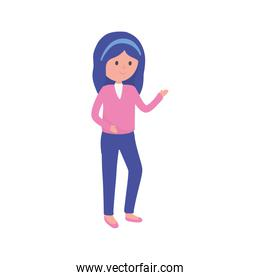 standing young woman cartoon character