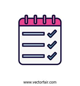 list check mark notepad spiral icon