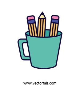 green cup with pencils supplies icon