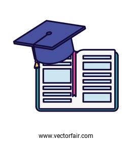 isolated  open book with graduation hat