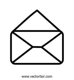 open envelope message mail icon thick line