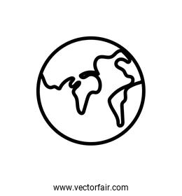world map earth geography icon thick line