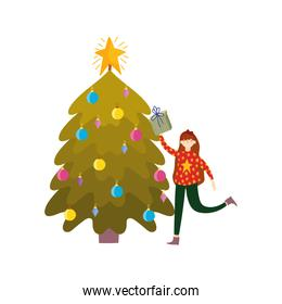 merry christmas woman with ugly sweater tree gift balls celebration