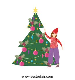 merry christmas woman with ugly sweater tree decoration celebration