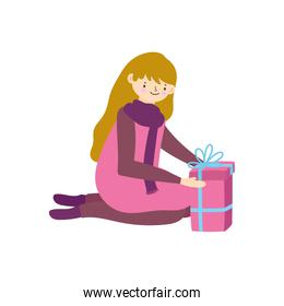 merry christmas woman with sweater and gift box