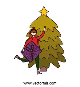 woman with pine tree nature icon on white background