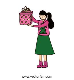 merry christmas woman with sweater and gift box lights snowflakes