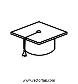 graduation hat school education learning online thick line