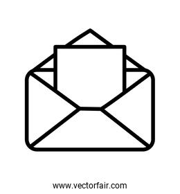 open envelope letter message mail icon thick line