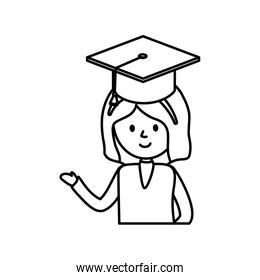 girl student graduation hat school learning online thick line