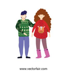 merry christmas couple with ugly sweaters