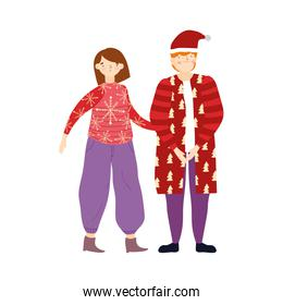merry christmas couple with warm clothes