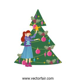 merry christmas woman with ugly sweater holding star tree balls celebration