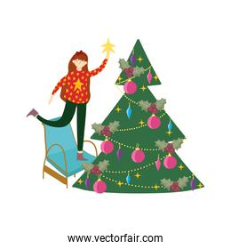 merry christmas woman on chair decorating tree star celebration